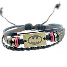 Cool Batman Bat pendant wood beads leather bracelet