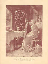 Romance, Man Reading Poetry To Woman, Vintage 1890 German Antique Art Print