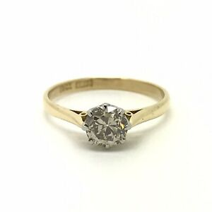0.75ct Diamond Vintage Solitaire Engagement Ring - 18ct Yellow Gold - Size N