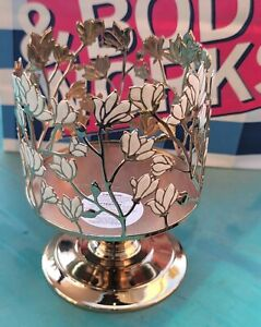 BATH AND BODY WORKS MAGNOLIAS PEDESTAL CANDLE HOLDER 3 WICK LARGE NEW