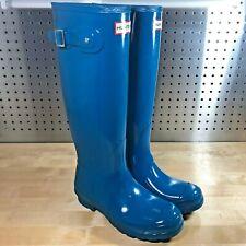 New Hunter Woman Original Tall Gloss Waterproof Rubber Rain Boot Ocean Blue Sz 6