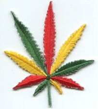 HEMP LEAF rasta colors EMBROIDERED IRON-ON PATCH weed reggae p3478 FREE SHIPPING