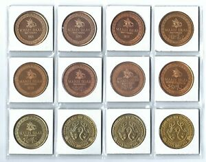 12 DIFFERENT ANHEUSER BUSCH BUDWEISER BUD BEER CLYDESDALES GOLD COINS TOKENS