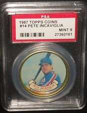 PSA 9 MINT 9 - #14 Pete Incaviglia 1987 Topps Coins Texas Rangers