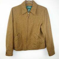 Lauren Ralph Lauren Womens Size 8 Jacket Brown Tweed Full Zip Pockets