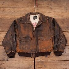 "Mens Vintage Avirex Leather Type A2 Flight Bomber Jacket Brown L 46"" R4651"