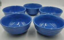 Longaberger Pottery 5 CORNFLOWER BLUE  CEREAL BOWLS 16 Ounce capacity