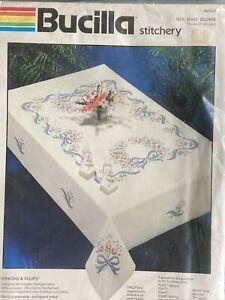 Vtg Bucilla Stitchery RIBBONS & TULIPS 52X52 Tablecloth Stamped Cross Stitch Kit