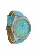 Guess 75554G5 Women's Aqua & Mint Round Analog Stainless Steel Leather Watch