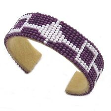 Handmade Purple White Non Native Craft Butterfly Beaded Cuff Bracelet Unisex