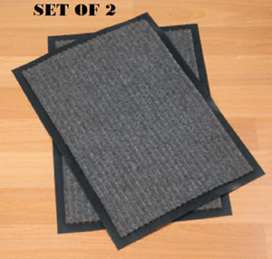 All Weather Doormat Set of 2 Rugged Mats Heavy Duty Non-Slip PVC Backing Gray