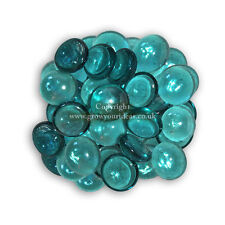 25 Turquoise Glass Round Pebbles Nuggets Stones Beads for Crafts or Garden