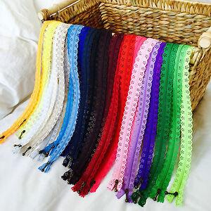 "FLORAL LACE BRASS PULL ZIPPER 20cm 8"",35cm 14"",56cm 22""- 24 colours craft, sew"
