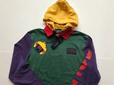 RALPH LAUREN POLO [SZ M] SNOW BEACH HOODED RUGBY 1993 PULLOVER STADIUM P WING