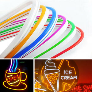 12V NEON LED LIGHT STRIPS DIY FLEXIBLE SIGN LAMP SILICONE TUBE +POWER ADAPTER 7