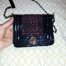 Small Red Herring cross-body handbag, black patent and red tartan
