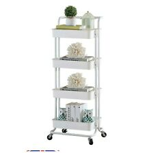 4 Tier Mobile Kitchen Trolley Cart Handle Slim Rolling Storage Rack With Wheels