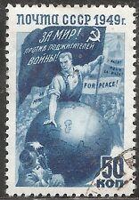 """Russia Stamp - Scott #1426/A777 50k Blue """"World Peace"""" Canc/LH 1949"""