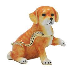 Golden Retriever Dog Pup Paw Up Jewelled Trinket Box Figurine Approx 6cm High