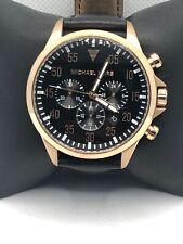 Michael Kors MK8535 Men Black Leather Analog Black Dial Quartz Wrist Watch KS456