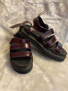 doc martens red and black platform sandals size 9