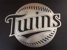 """Minnesota Twins logo metal art 17"""" t X 21"""" W Bruished Steel"""
