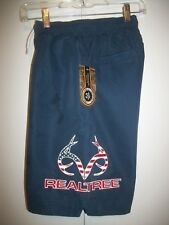NWT REALTREE NAVY LINED EMBROIDERED GRAPHIC SWIM TRUNKS / BOARD SHORTS SIZE SMAL