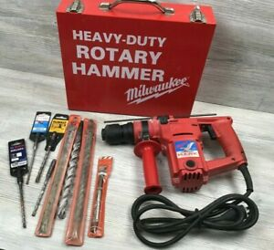 "Used Milwaukee Hawk 1"" Rotary Hammer Drill 5362-1 w/ Metal Case & Assorted Bits"