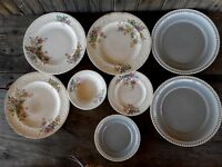 Farmhouse Shabby Chipped for Wall hanging SET OF 8 Misc DISH PLATE DECOR flowers