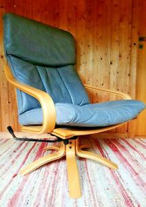 Vintage Sessel Drehsessel Leder 60er Relax Easy Chair grau Westnofa Ära 60s 2