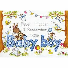 BOTHY THREADS BUNNY LOVE BOY BABY SAMPLER CROSS STITCH KIT - NEW XKG3