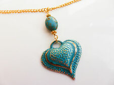 Hand Patinated Teal Green Verdigris Style Heart Pendant on Gold Chain, Gift