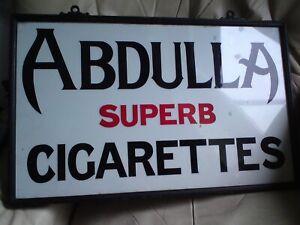 Antique Abdulla Superb Cigarettes Advertising  Glass Sign (not enamel)