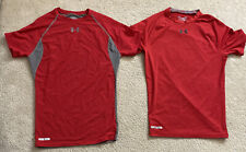 (2) Under Armour Men's Compression Shirt-Red-Large