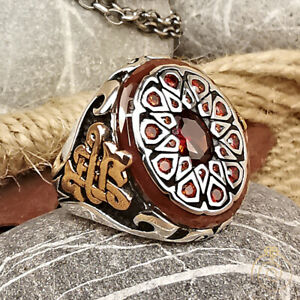 Red Ruby Men Celtic Signet Ring Antique Promise Band For Men Unique Cool Jewelry