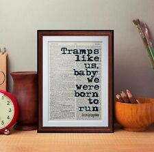 Bruce Springsteen Quote Dictionary page art print gift literary book Author