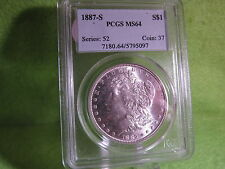 1887 S MORGAN SILVER DOLLAR GRADED MS 64 BY PCGS, LOW MINTAGE RARER COIN