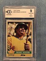 1976 Topps Reggie Jackson #500 Beckett Graded BCCG 9 Near MINT Or Better HOF
