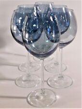 "6 Clear Long Stem Large Blue Iridescent Bowl Wine Glasses 8.5"" Stemware Vintage"