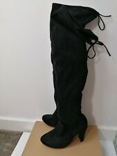 Overknee Boots Size 8 faux Suede Black Tip Up