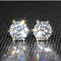 4Ct Round Cut Sparkle Moissanite Solitaire Stud Earrings 14K Yellow Gold Finish