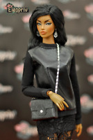 "ELENPRIV black jersey and leather sweatshirt for Fashion royalty FR:16 16"" dolls"