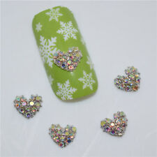 NEW 3D Clear Rhinestone Nail Art Hearts Crystal Gems FREE P&P UK STOCK
