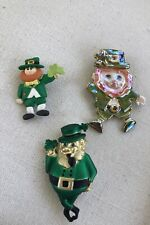 LOT of Vintage St. Patricks Day Pins Brooches Jewelry Clover Leprechaun