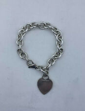 Tiffany & Co Sterling Silver Blank Heart Tag Charm Bracelet 7.5 Inches