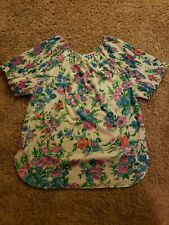 RHODA LEE - Vtg 70s Polyester Floral Pleated Short Sleeve Sleeve, Wms Sz 38