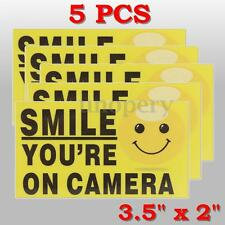 5x Smile You're on Camera Yellow Business Security Sign CCTV Video Surveillance