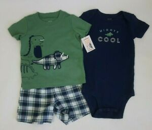 Just one You by Carter's Baby Boy 18M 3-pc Dino T-shirt Bodysuit & Shorts Set