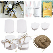 100x White Pillow Box Wedding Party Favour Boxes Sweets Candy With Labels Rope