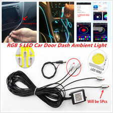 RGB 5 LED Car SUV Door Dash Ambient Light 6M Neon Strip Bluetooth Phone Control